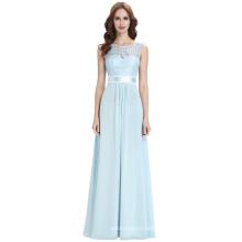 Kate Kasin sans manches V-Back Formal Light Blue Lace Chiffon Evening Ball Gown Party Prom robes de demoiselle d'honneur KK000164-1