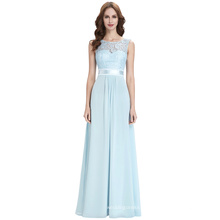 Kate Kasin Sleeveless V-Back Formal Light Blue Lace Chiffon Evening Ball Gown Party Prom Bridesmaid Dresses KK000164-1