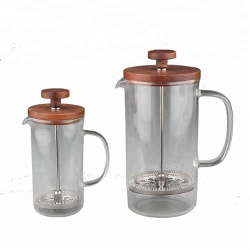 CoffeeSeries Borosilicate Glass French Press of Wood Lid