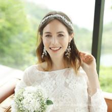 Alloy Crystal Elastic Headband Wedding Bride For Women Girls Luxury Hair Accessories Korean Crown Flower Hairband Feast Party