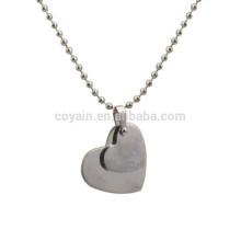 Personalizado em branco em aço inoxidável 2 Piece Coração Colar