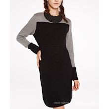 17 PKCS25292 2017 malha de lã cashmere de malha camisola da senhora vestido