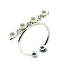 Precio de fábrica El más nuevo anillo de la perla de la joyería 925 de la manera del diseño (R10382)