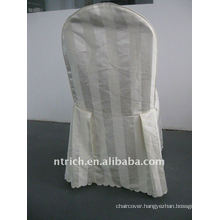 polyester chair cover with stripe,CT501 ivory/beige/cream color,banquet chair cover,250GSM best quality