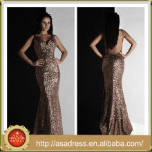 AKC03 Champagne Luxury Train Special Occasion Gowns Floor-Length Long Sexy V-Neck Backless Sequin Cocktail Dress
