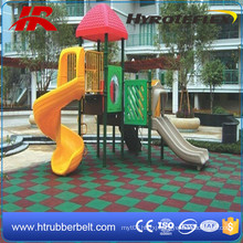 Recycled Rubber Playground Safety Tiles, Flat Subsurface Sports Square Rubber Tiles
