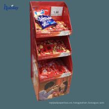 Estante de exhibición de alta calidad de la comida de la magdalena del cartón, soporte de exhibición de papel para la tienda