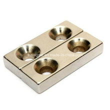 Neodymium Strong Block Hole N35 Rare Earth Magnet 2 Countersunk 30X10X5mm