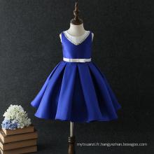 fashion design blanc et bleu sans manches casual nouveau modèle robe d'été fille