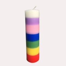 7 warna Layered Handmade Chakra Pillar Candle