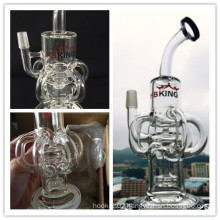 14mm Joint Oil Rig Glass Water Pipe Four Bend Recycler Smoking Pipe