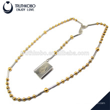 Hot sale Bible text and mary pattern jewelry to necklace with 8mm & 6mm gold plating rosary bead stainless steel round pendant
