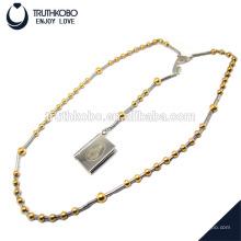 Venda quente bíblia texto e mary padrão de jóias para colar com 8mm & 6mm chapeamento de ouro rosário talão de aço inoxidável rodada pingente