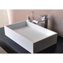 Sanitary Ware Rectangular Counter Top White Marble Bathroom Wash Basin (BS-8317)
