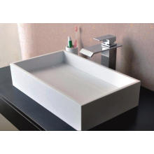 Сантехнические изделия Прямоугольный счетчик Top Белый мрамор ванной умывальник (BS-8317)