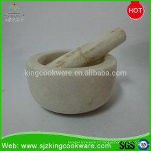 Mortier en pierre de marbre / granit chaud et outils de coupe de mortier en pierre ensembles de mortier et pilon