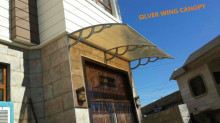 Large polycarbonate plastic awning materials rain door canopy cover with plastic injection brackets 1500mm