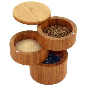 Round 3-Tier Bamboo Storage Box with Magnetic Lid