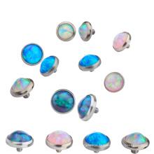 Ensemble de lunette en titane massif synthétique opale dermique ancre supérieure Piercing bijoux