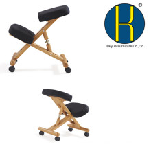 2017 HY5001 Haiyue Ergonomic Kneeling Chair Wooden Adjustable Mobile Padded Seat and Knee Rest (Black)