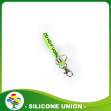 Green Debossed With Color Filled Silicone Keychain