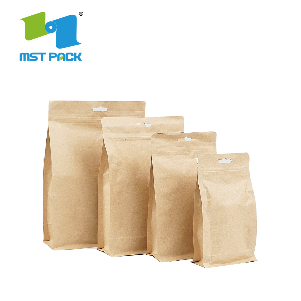 Stand Up Kraft Paper Zipper Tea Packaging