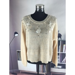 Round Collar Jewels Nail Sweater