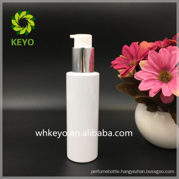 high quality 120ml white round plastic pump bottle PET lotion bottle aluminum lid