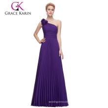 Grace Karin sin mangas una flor de hombro plisado largo púrpura vestido de fiesta de gasa CL3467-4