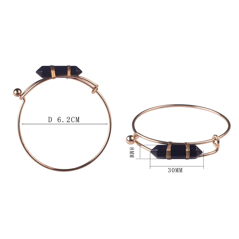 Girls Cuff Gold Plated Goldstone Hexagon Stone Bangles