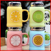 Fruta de cerámica de alta calidad preciosa Mark taza Oficina de agua usada taza con tapas
