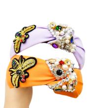 Bandeau Opaska Vintage Pearl Rhinestone Knot Headband Luxury Hair Accessories Baroque Emboidery Bee Hairband for Women