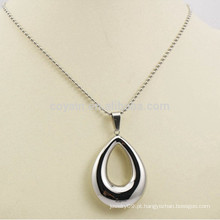 Made in China Jóias em aço inoxidável oco de prata Waterdrop colares