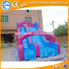 Giant adult inflatable double lane slip and stair slide for sale
