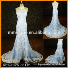 new lace designer mermaid high neck wedding gown halter elegant appliqued colorful satin dress