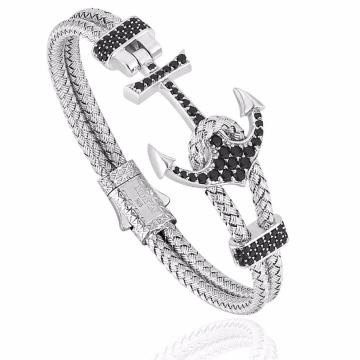 Handmade Mens Steel Wire Cord Anchor Zircon Bracelet