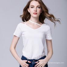 2017 camiseta al por mayor de china camiseta personalizada mujeres manga corta en blanco camisetas apenado