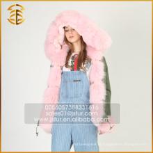 Estilo Europeu Moda Faux Coats Fox Mulheres Real Fur Parka