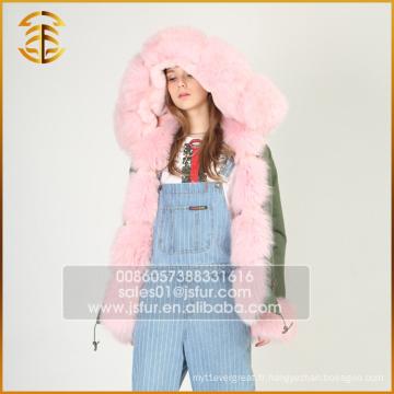 Style Européen Faux Manteaux Fox Femmes Real Fur Parka