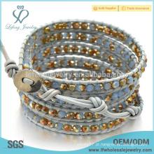 Handcrafted braceletes de couro boêmio, mais recente braceletes artesanais para mulheres