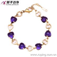 72830 New Arrrival Moda 14k banhado a ouro elegante Heart-Shaped pulseira de jóias de cristal em liga de cobre