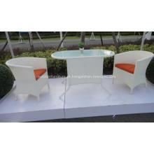 Conjunto de móveis varanda ao ar livre do Rattan branco chá