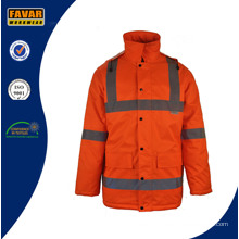 Men Waterproof High Visibility Reflective Tape PU Coating Oxford Safety Work Jacket
