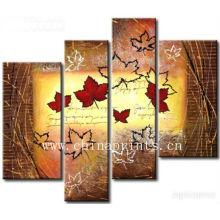4 paneles de pintura de arce manualmente pintura al óleo