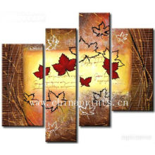4 Panels Maple Painting Manually Oil Painting