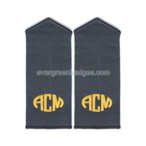 Gold Text Overlocked Top Border Embroidered Epaulette