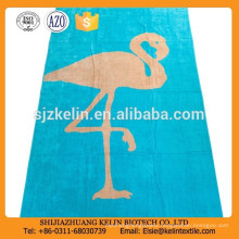 Turquoise bird pattern yarn dyed jacquard beach towel