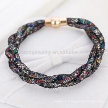 2015 Hot Sale Mesh Double Stardust Bracelets Avec pierres de cristal Rempli Magnetic Clasp Charm Bracelets Bangles