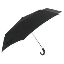 dreifach klappbarer Kunststoff-J-Griff schwarz Werbeartikel Regenschirm