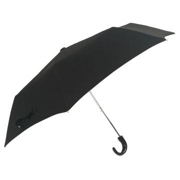 guarda-chuva tripla dobrável de plástico com alça preta para itens promocionais